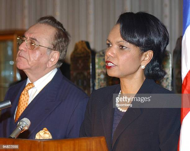 Secretary of State Condoleezza Rice right speaks to reporters at a news conference in Islamabad Pakistan March 17 2005 The US is interested in...