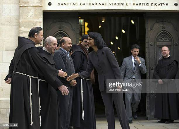 US Secretary of State Condoleezza Rice shakes hands with Franciscan religious leaders while touring the Church of St Catherine adjacent to the Church...