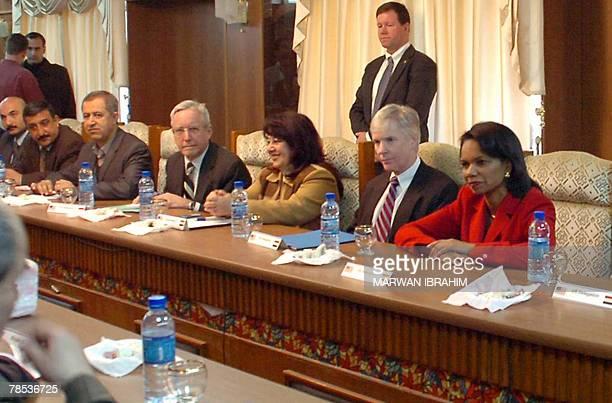 Secretary of State Condoleezza Rice sits next to US Ambassador to Iraq Ryan Crocker as they attend a meeting with Kurdish, Sunni, Christian, Turkmen...