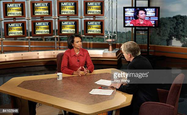 US Secretary of State Condoleezza Rice speaks as she is interviewed by moderator David Gregory during a taping of 'Meet the Press' at the NBC studios...