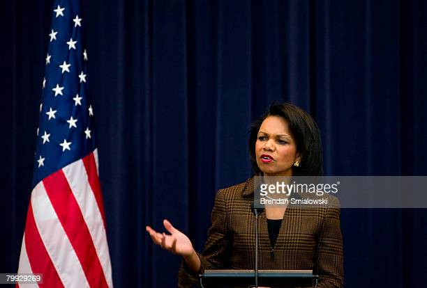 Secretary of State Condoleezza Rice speaks during a Black History Month event at the US State Department February 22 2008 in Washington DC Rice spoke...