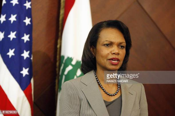 US Secretary of State Condoleezza Rice speaks during a press conference following a meeting with Lebanese Prime Minister Fuad Siniora at the...