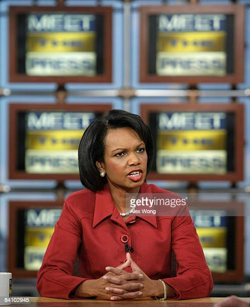 US Secretary of State Condoleezza Rice speaks during a taping of 'Meet the Press' at the NBC studios December 21 2008 in Washington DC Rice spoke...