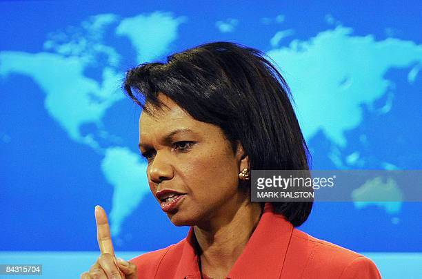 Secretary of State Condoleezza Rice talks to the press at her daily briefing before signing a US-Israeli deal with Israeli Foreign Minister Tzipi...