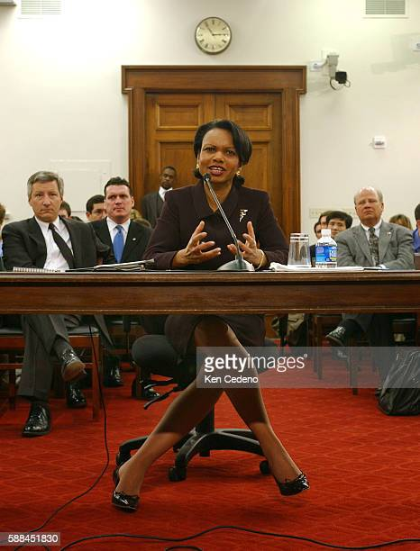 US Secretary of State Condoleezza Rice testifies before a House Appropriations Committee hearing on Capitol Hill in Washington DC March 9 2005 Rice...