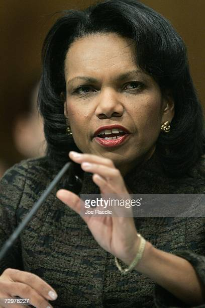 S Secretary of State Condoleezza Rice testifies before the Senate Foreign Relations Committee on The Administration's Plan for Iraq January 11 2007...
