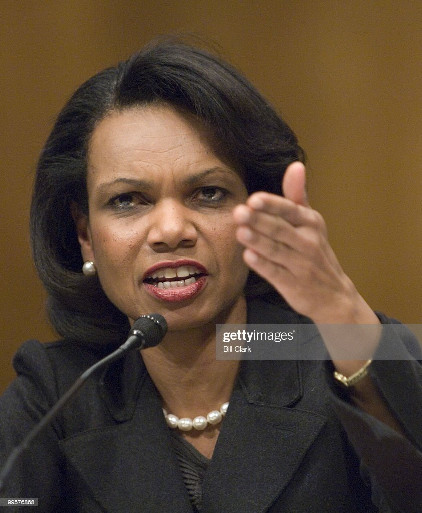 Secretary of State Condoleezza Rice testifies during the Senate Foreign Relations Committee hearing on the foreign affairs budget on Wednesday, Feb. 13, 2008.
