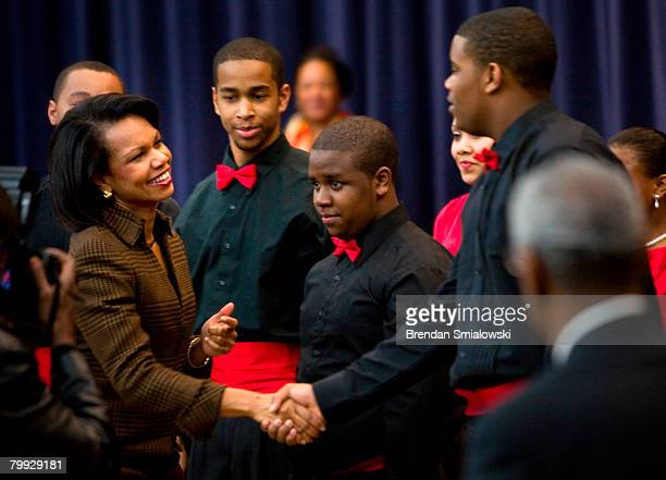 Secretary of State Condoleezza Rice thanks singers and dancers from the Duke Ellington School of the Arts during a Black History Month event at the...