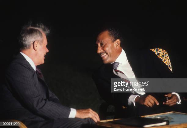 Secretary of State Cyrus Vance meets with the President of Egypt Anwar Sadat during peace talks to renew the Sinai II disengagement agreement in...