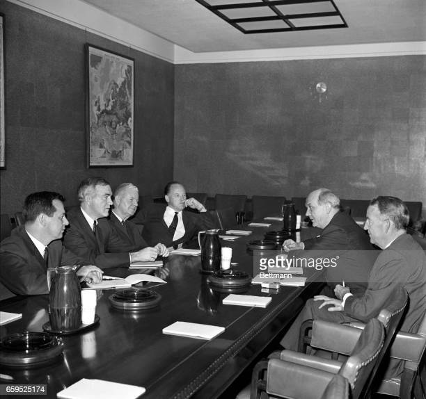 Secretary of State, Dean Rusk briefs members of the House Foreign Affairs Committee on the recent change over of leadership in the Soviet Union. Some...