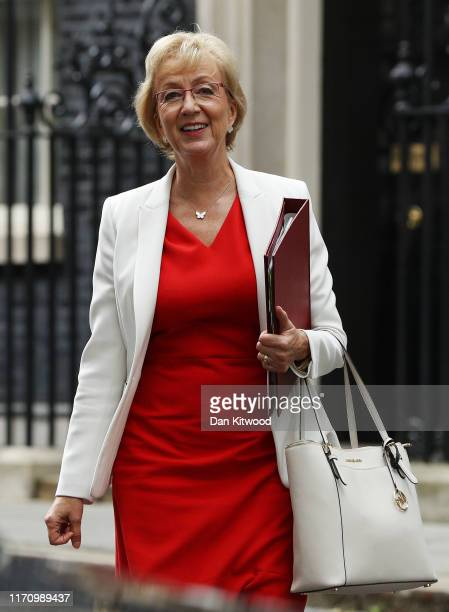 Secretary of State for Business Energy and Industrial Strategy Andrea Leadsom leaves 10 Downing Street as MPs return to Parliament following the...