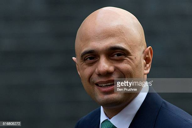 Secretary of State for Business Innovation and Skills Sajid Javid arrives at Number 10 Downing Street ahead of British Prime Minister David Cameron...