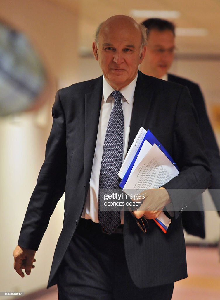 UK Secretary of State for Business, Innovation and Skills Vince Cable arrives for a press conference at the end of the working session of the Competitiveness council on May 25, 2010 at the EU headquarters in Brusselsat the EU headquarters in Brussels.