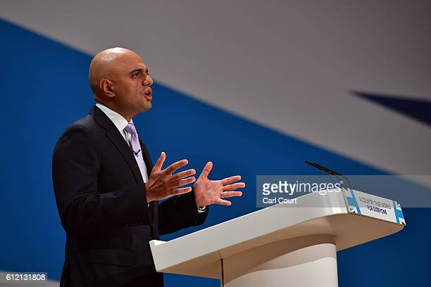 Secretary of State for Communities and Local Government Sajid Javid delivers a speech about the economy on the second day of the Conservative Party...