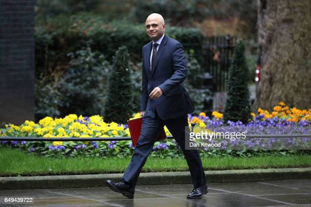 Secretary of State for Communities and Local Government Sajid Javid arrives for a PreBudget Cabinet meeting at Downing Street on March 8 2017 in...