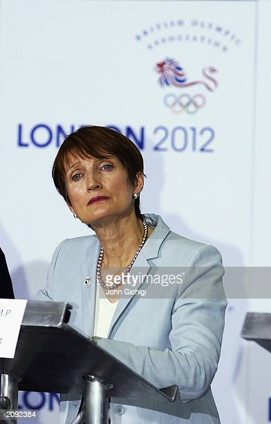Secretary of State for Culture Media and Sport Tessa Jowell talking to the press during a press conference to announce London's bid to host the 2012...
