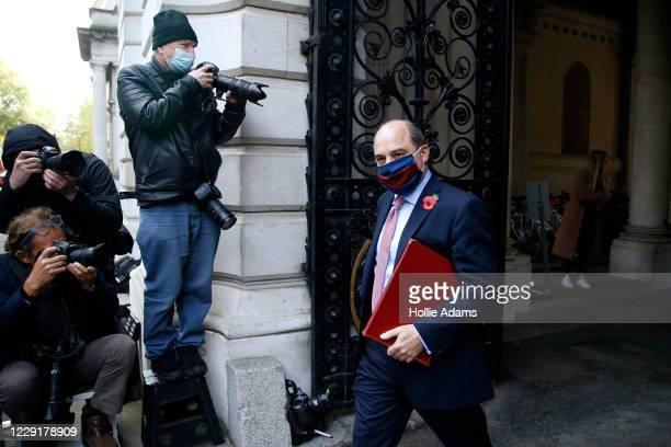Secretary of State for Defence Ben Wallace returns to Downing Street after attending the weekly cabinet meeting on October 20 2020 in London England...