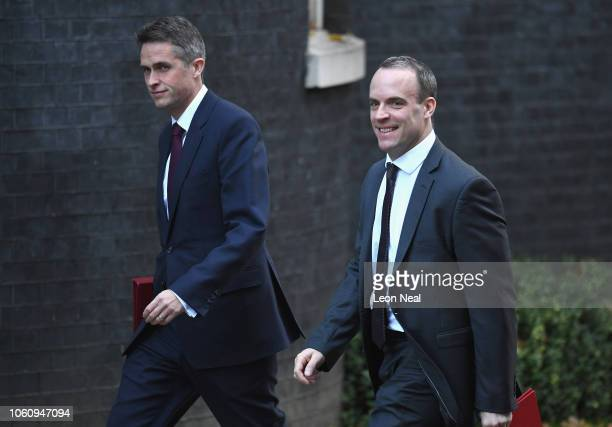 Secretary of State for Defence Gavin Williamson and Secretary of State for Exiting the European Union Dominic Raab arrive at 10 Downing Street on...
