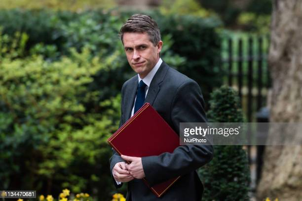 Secretary of State for Defence Gavin Williamson arrives for the political Cabinet meeting at 10 Downing Street on 02 April 2019 in London England...