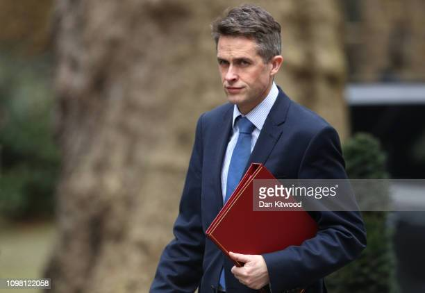 Secretary of State for Defence Gavin Williamson arrives to attend the weekly cabinet meeting at Downing Street on February 12 2019 in London England...