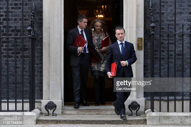 Secretary of State for Defence Gavin Williamson Chief Secretary to the Treasury Elizabeth Truss and Secretary of State for Wales Alun Cairns leave...