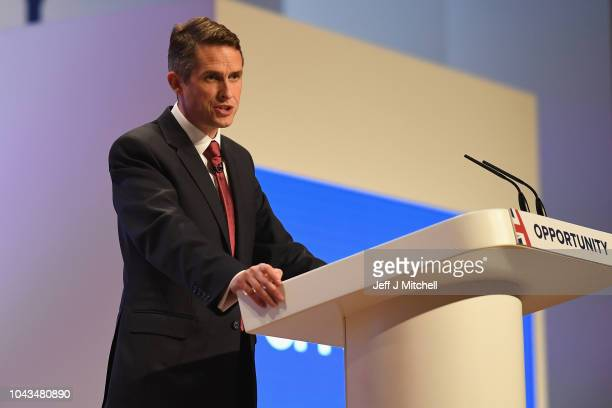 Secretary of State for Defence Gavin Williamson speaks during the annual Conservative Party Conference on September 30 2018 in Birmingham England The...