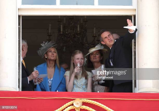 Secretary of State for Defence Gavin Williamson watches the flypast from a window of Buckingham Palace during Trooping The Colour on June 9 2018 in...