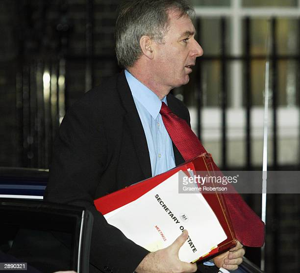 Secretary of State for Defence Geoff Hoon arrives for the weekly cabinet meeting January 22 2004 at Downing Street in London England Prime Minister...
