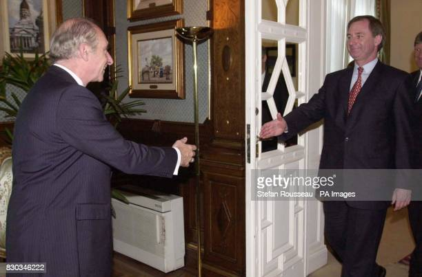 Secretary Of State for Defence Geoff Hoon greets Argentine President Fernando de la Rua at his official residence the Casa Rosada in Buenos Aires...