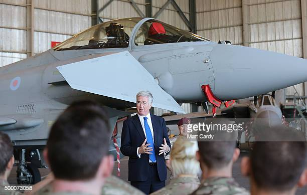 Secretary of State for Defence Michael Fallon addresses Operation SHADER personnel at RAF Akrotiri on December 5 2015 in Akrotiri Cyprus The RAF have...