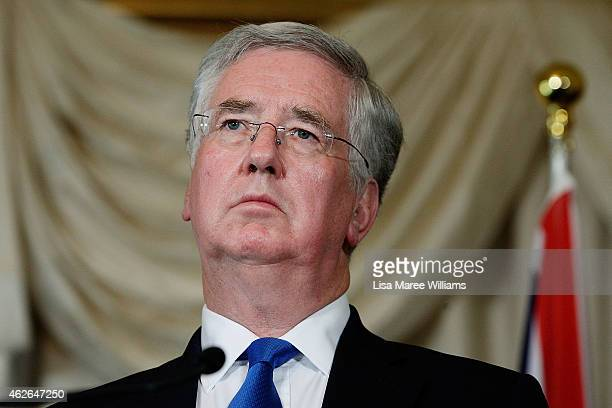 Secretary of State for Defence Michael Fallon attends a press conference at Admiralty House on February 2 2015 in Sydney Australia The UK Secretary...