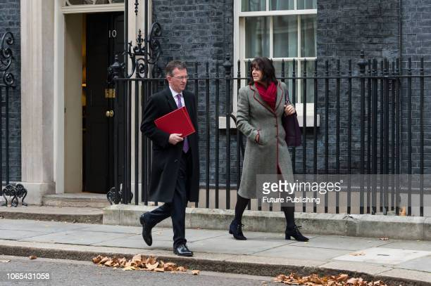 Secretary of State for Digital Culture Media and Sport Jeremy Wright and Minister of State for Energy and Clean Growth Claire Perry leave after a...