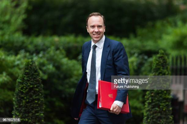 Secretary of State for Digital Culture Media and Sport Matt Hancock arrives for a weekly cabinet meeting at 10 Downing Street in central London June...