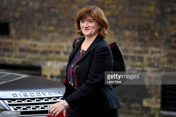 Secretary of State for Digital Culture Media and Sport Nicky Morgan arrives at Downing Street on October 16 2019 in London England UK and EU...