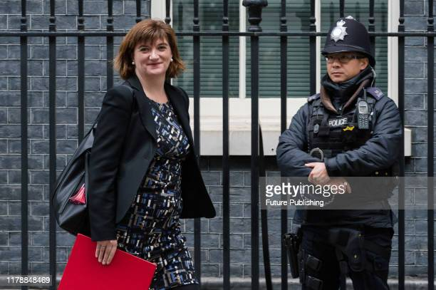 Secretary of State for Digital Culture Media and Sport Nicky Morgan leaves 10 Downing Street in central London after attending the weekly Cabinet...