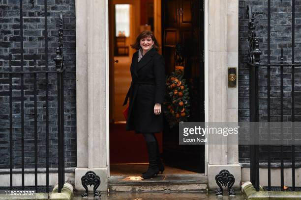 Secretary of State for Digital Culture Media and Sport Nicky Morgan arrives at 10 Downing Street on December 17 2019 in London England British Prime...