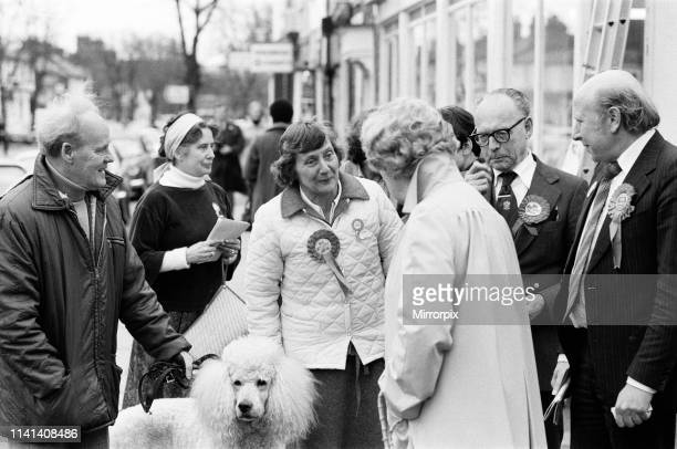 Secretary of State for Education and Science and Labour MP Shirley Williams on the campaign trail in Stevenage, Hertfordshire, with Betty Allsopp....