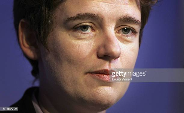 Secretary of State for Education and Skills Ruth Kelly delivers her keynote speech to union representatives March 21 2005 in London The Academy aims...
