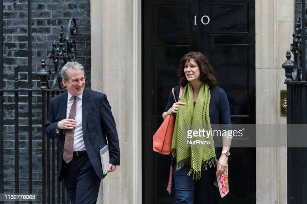 Secretary of State for Education Damian Hinds amd Minister of State for Energy and Clean Growth Claire Perry leave 10 Downing Street in central...