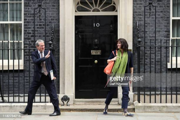 Secretary of State for Education Damian Hinds waves to Minister of State for Energy and Clean Growth Claire Perry as they leave Downing Street on...