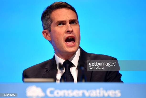 Secretary of State for Education Gavin Williamson speaks during day two of the 2019 Conservative Party Conference at Manchester Central on September...