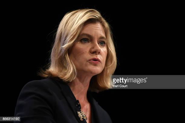 Secretary of State for Education Justine Greening speaks on the first day of the annual Conservative Party conference October 1 2017 in Manchester...