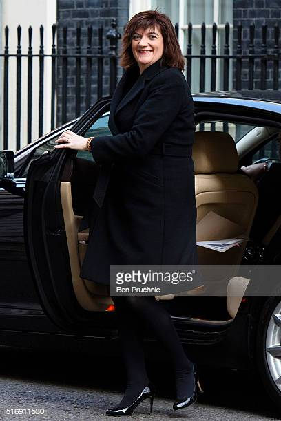 Secretary of State for Education Nicky Morgan arrives for the weekly cabinet meeting chaired by British Prime Minister David Cameron at Number 10...