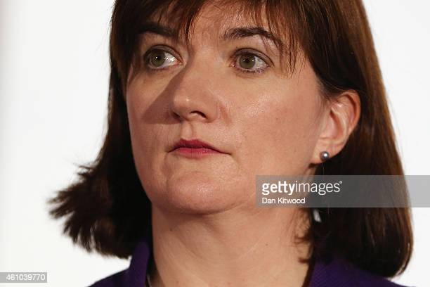 Secretary of State for Education Nicky Morgan speaks to members of the media during a press conference on January 5 2015 in London England The...