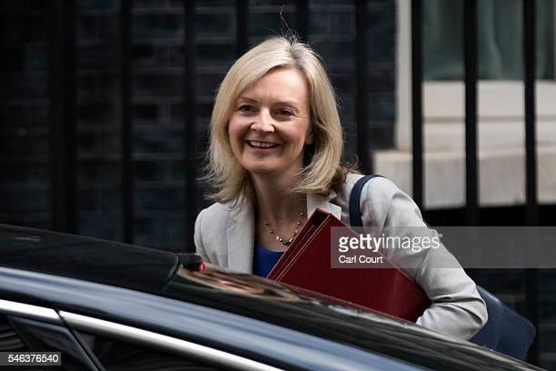 Secretary of State for Environment Food and Rural Affairs Liz Truss arrives to attend a Cabinet meeting at Downing Street on July 12 2016 in London...