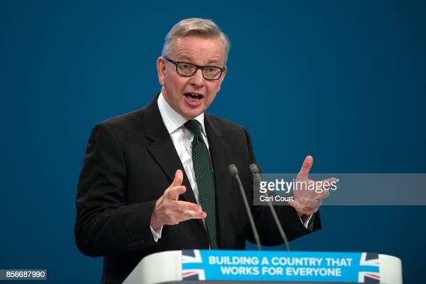Secretary of State for Environment, Food and Rural Affairs, Michael Gove, delivers a speech on day two of the Conservative Party Conference at...
