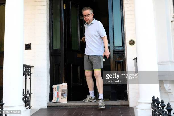 Secretary of State for Environment Food and Rural Affairs Michael Gove leaves his house on March 25 2019 in London England British Prime Minister...