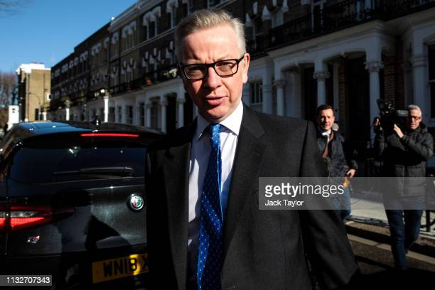 Secretary of State for Environment Food and Rural Affairs Michael Gove leaves his home ahead of a Cabinet meeting on March 25 2019 in London England...