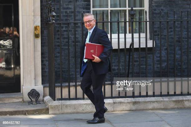 Secretary of State for Environment Food and Rural Affairs Michael Gove arrives at Downing Street on June 13 2017 in London England The Prime Minister...