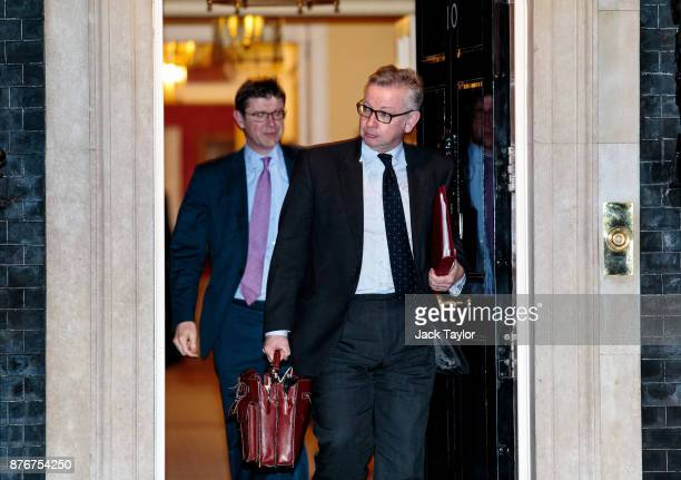 Secretary of State for Environment Food and Rural Affairs Michael Gove and Business Secretary Greg Clark leave following a meeting at Downing Street...